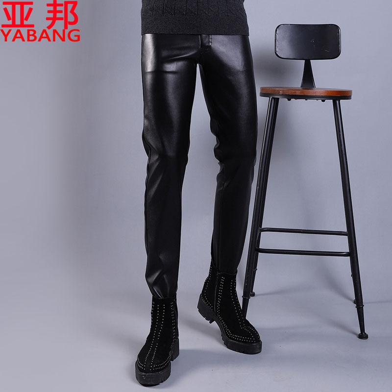 夏季秋季薄款皮裤男修身韩版高弹力青年摩托车男士防水紧身小脚裤