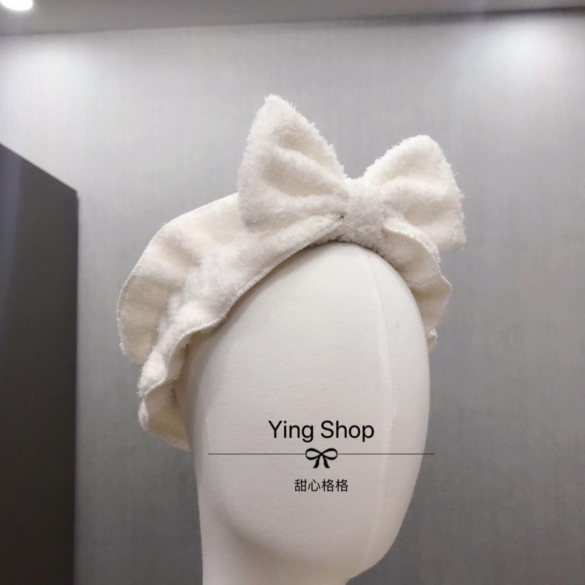 Ying,日系 羽毛绒蝴蝶结发带甜美软妹荷叶边宽边弹力洗脸束发带