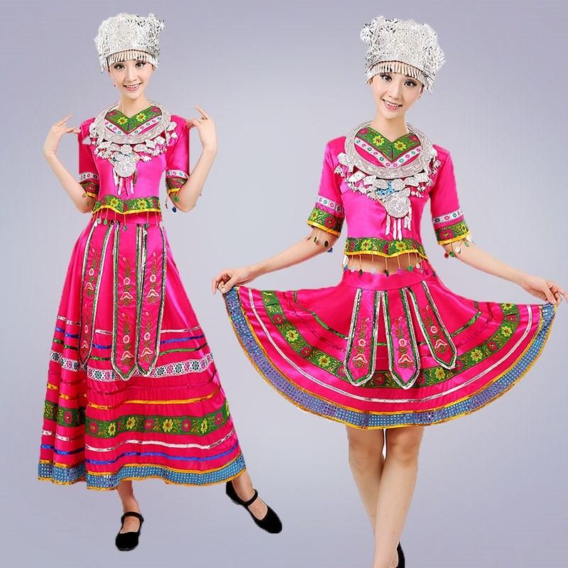畲族服装女套装新款少数民族风舞蹈云南苗族衣服凉山彝族演出服饰
