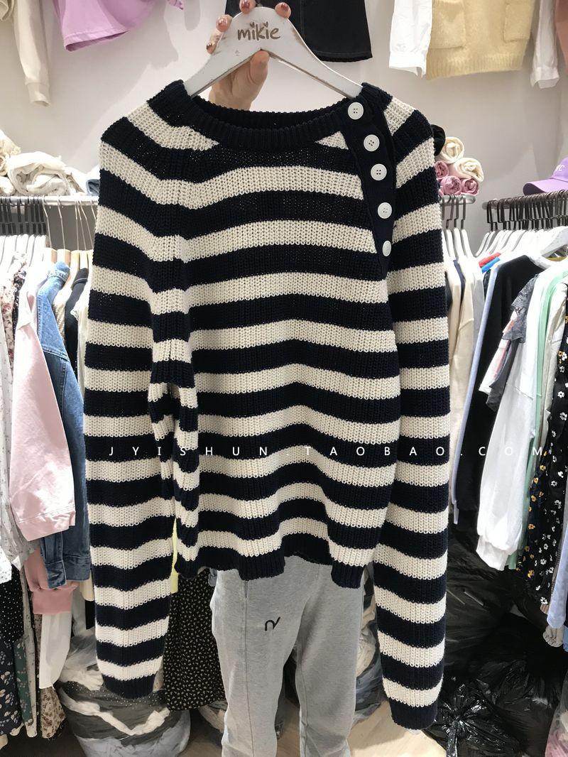 韩国货2021春季新品简约时尚百搭肩纽扣时尚条纹宽松套毛衣女黑白