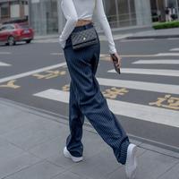阔腿裤女高腰垂感春夏季薄款2021年条纹宽松显瘦休闲拖地西装裤