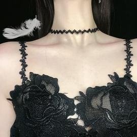 99手作黑色尖晶石串珠颈链黑尖石波浪项链气质短款脖子项圈女颈带图片