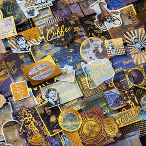 文艺复兴烫金和纸贴纸 复古欧式英文插画手帐装饰手账DIY拼贴素材