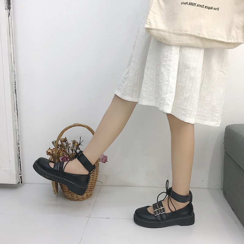 Net red imported Japanese new soft girl two small leather shoes thick soled round head women's shoes Lolita girl student shoes
