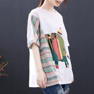 空谷沐棉夏新款短袖棉T恤女大码宽松白色棉麻t恤衫上衣女可爱萌系