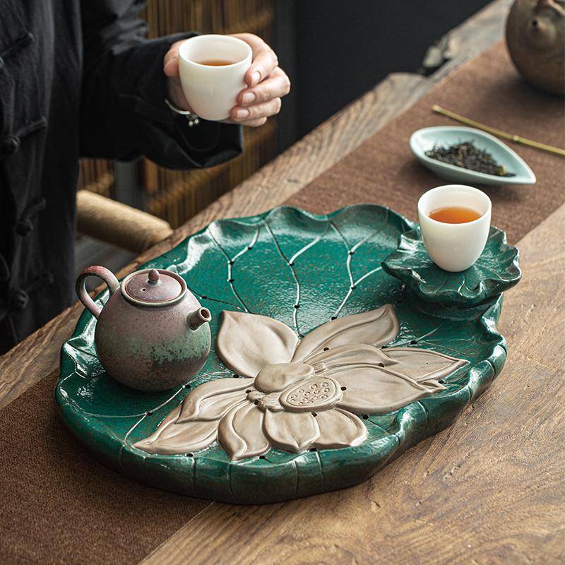 家用陶瓷茶盘圆形荷花排水式托盘储水式大号干泡盘茶具小茶台套装