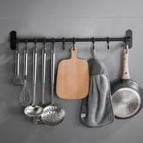 厨房挂钩免打孔 黑色挂杆壁挂 厨具用品挂架置物架挂勺子专用排钩
