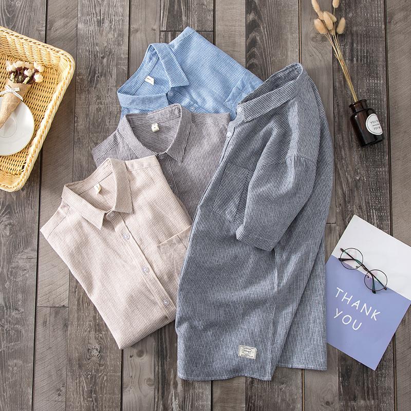 1117-P60新款亚麻条纹短袖衬衫夏装男款棉麻宽松透气大码方领上衣