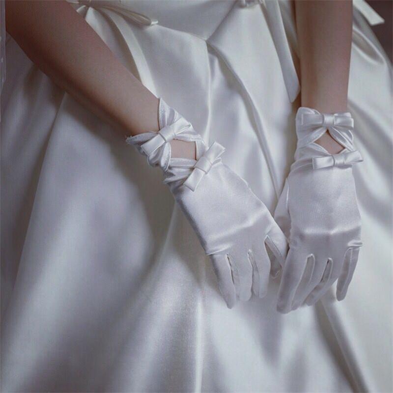 新娘婚纱手套伴娘礼服白色蝴蝶结结婚婚庆婚礼短款绸缎氨纶手套