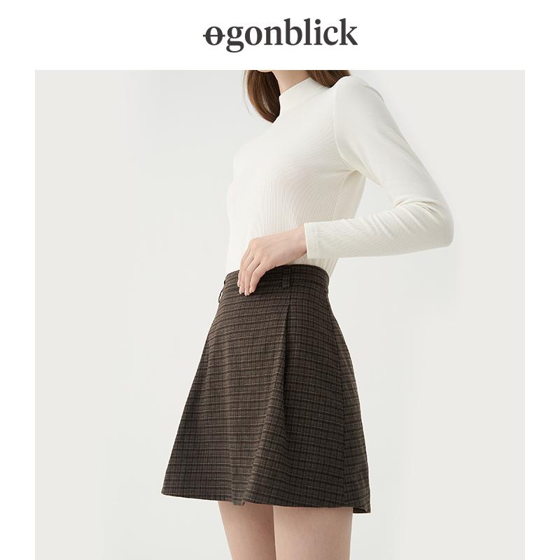 北欧时刻格纹半身裙A字裙2021秋季新款时尚复古高腰格子裙短裙女