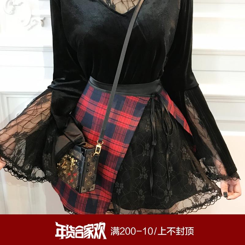 HOTDOG2种穿法蕾丝诱惑格子喜庆半身裙秋冬女高腰ins超火的短裙子