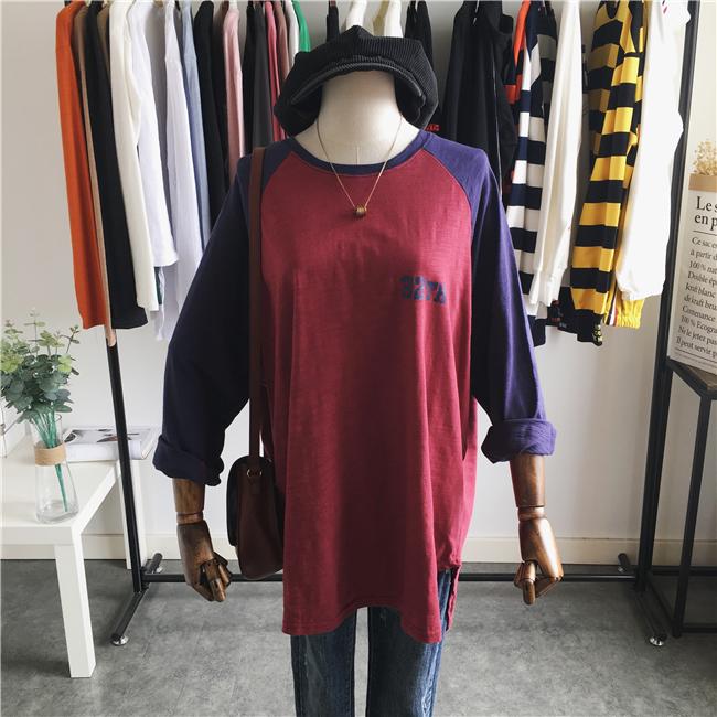 韩国订单 秋季新款做旧复古字母印花宽松中长款撞色长袖T恤打底衫