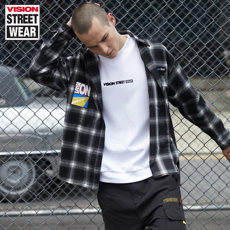 VISION STREET WEAR 男新款潮流寬松印花VSW印花長袖襯衫