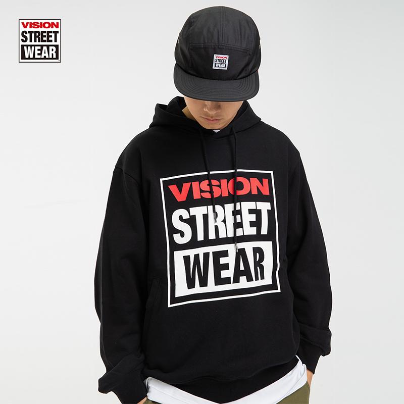 VISION STREET WEAR男女同款潮流套頭連帽衛衣寬松休閑時尚針織衫