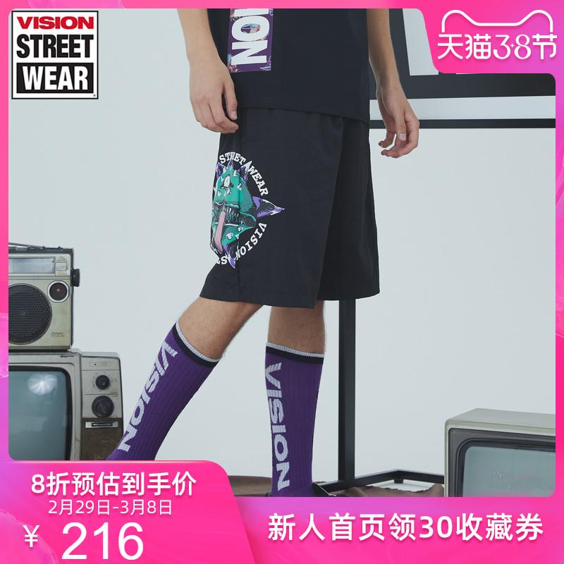 VISION STREET WEAR新款主题LOGO印花休闲梭织裤男V192ME3051