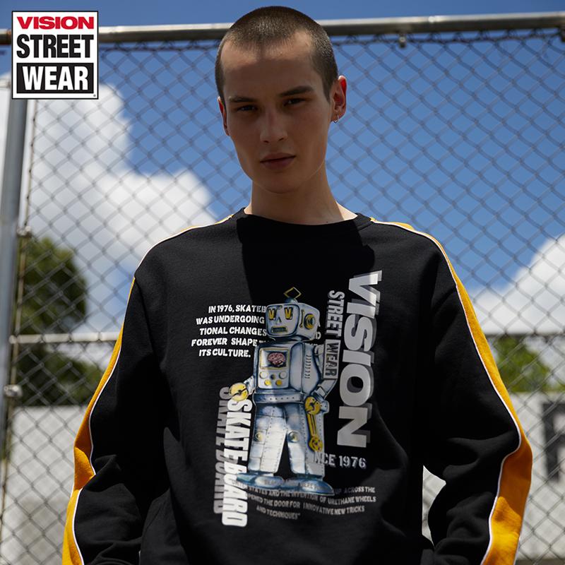 VISION STREET WEAR2019新款主题印花情侣卫衣男卫衣女V193NB1012