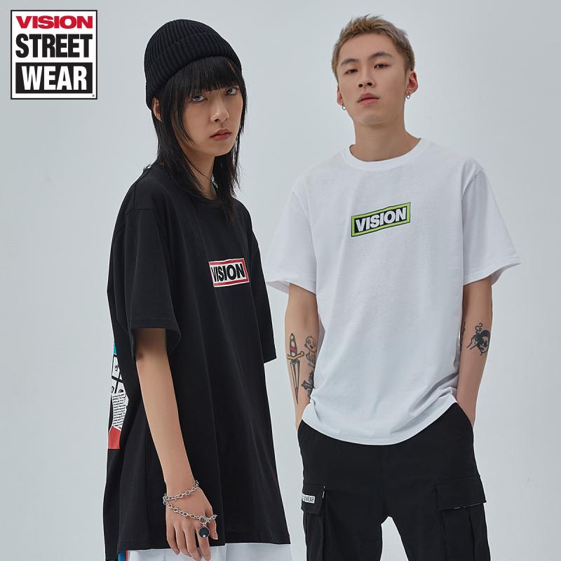 VISION STREET WEAR 男女同款潮T恤印花圓領短袖T恤