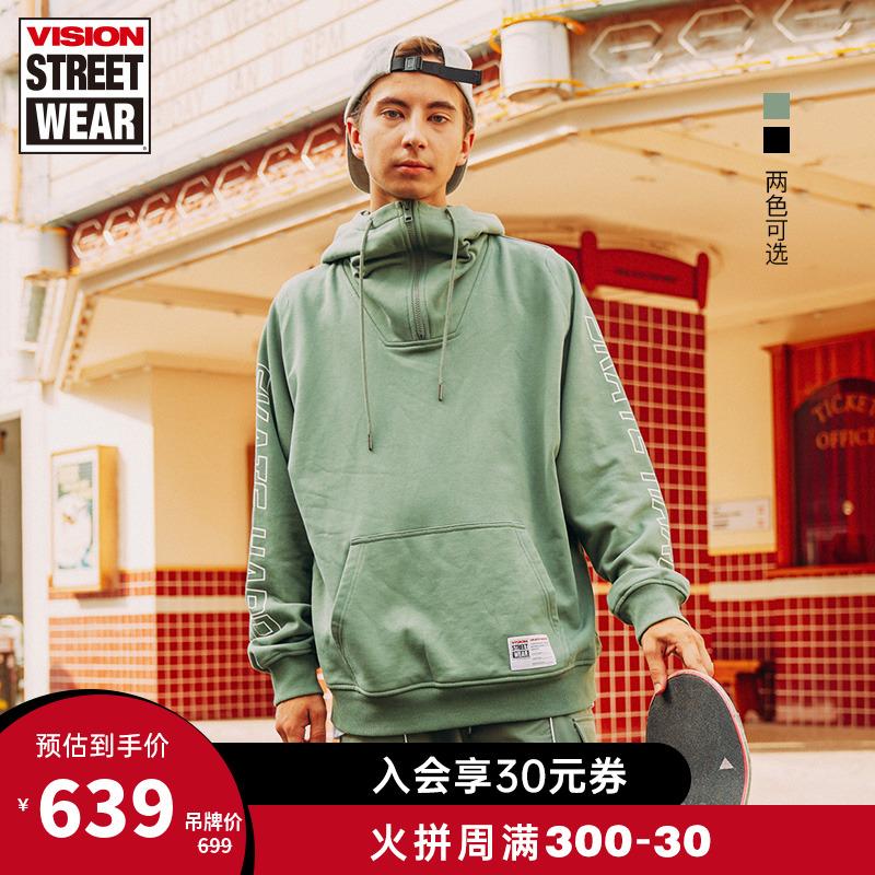 VISION STREET WEAR20秋冬宽松版连肩半开襟套头卫衣