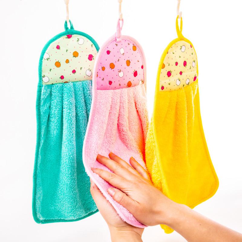 珊瑚绒擦手巾挂式擦手巾多功能擦手巾抹布清洁大号加厚吸水擦手巾