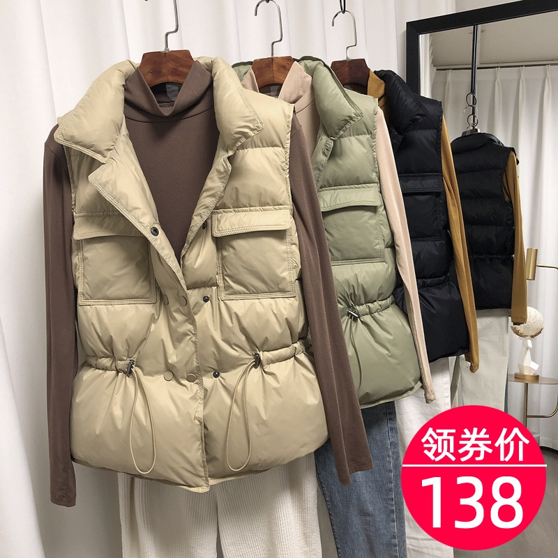 Down vest women's Korean Short all-around wear white duck down new vest in autumn and winter 2020