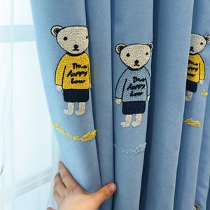 卡通泰迪熊动物儿童窗帘男孩女孩房间卧室飘窗遮光短窗帘简约现代
