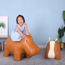 创意超大动物河马凳子皮玩偶换鞋凳家居狮子大象座椅长颈鹿卡通凳