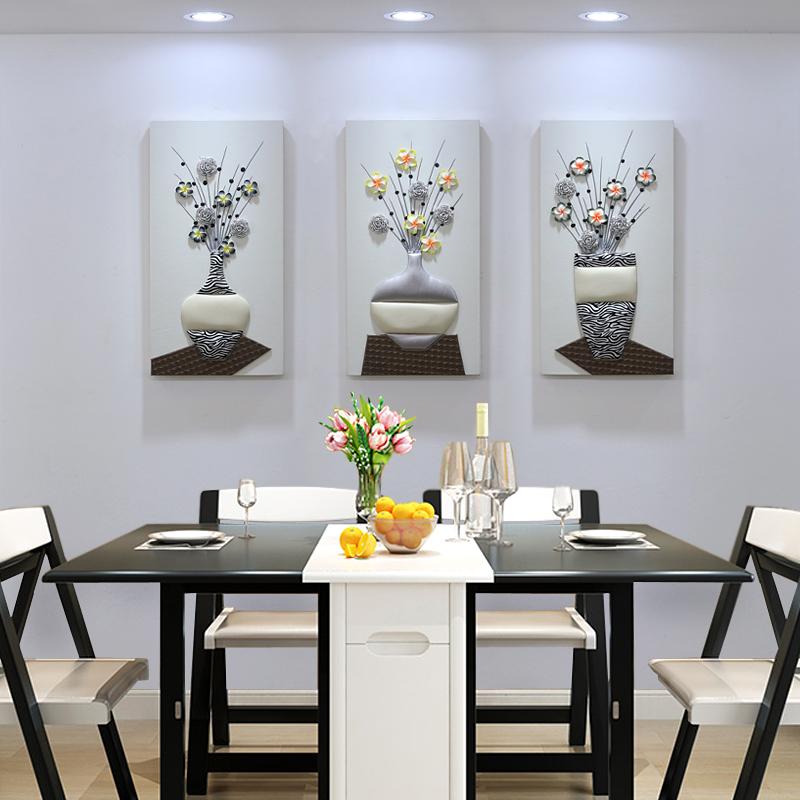 餐廳裝飾畫簡約三聯畫飯廳墻面掛畫小清新無框畫北歐壁畫3D立體畫