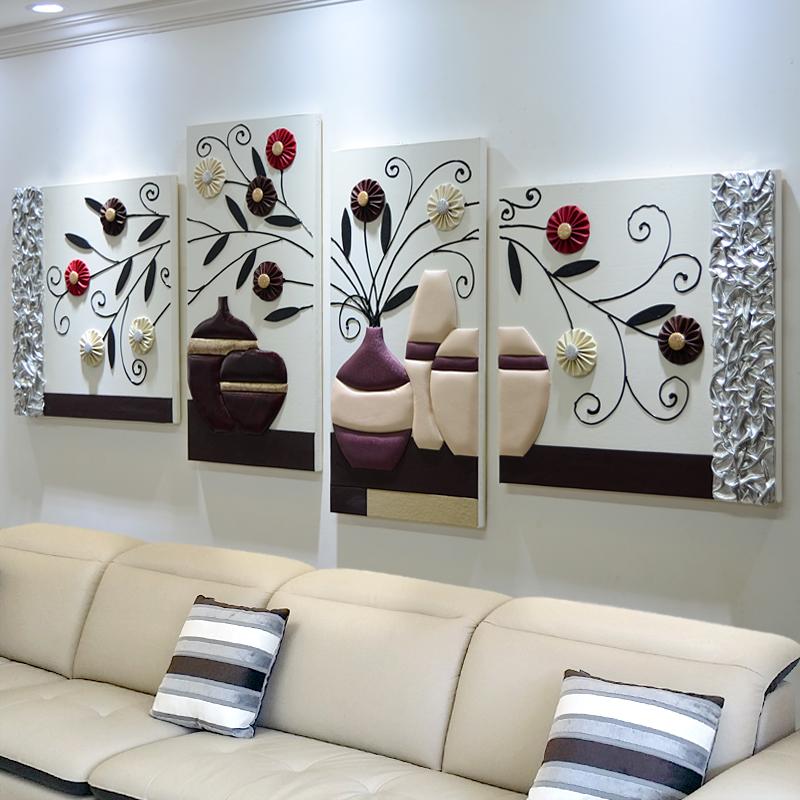 沙發背景墻裝飾畫北歐風格客廳墻面掛畫創意組合大氣無框餐廳壁畫