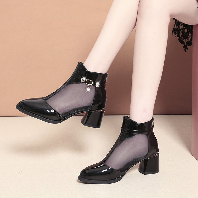 Hollow net boots womens spring, summer and autumn new style single shoes with big toe mesh shoes, middle heel pointed sandals and back zipper cool boots