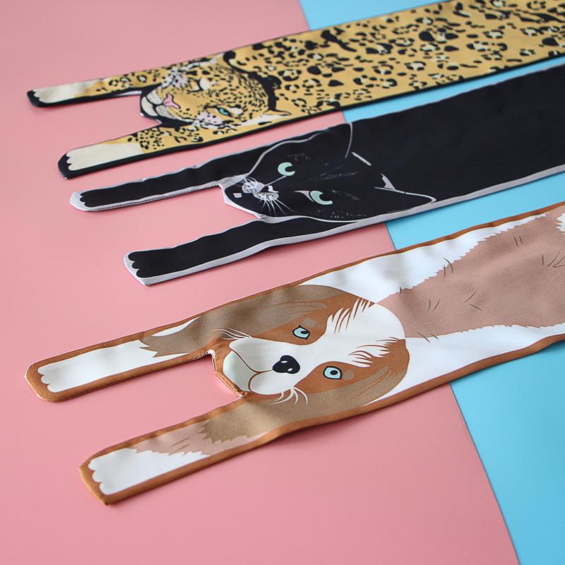 韩版可爱动物飘带小围巾装饰女发带
