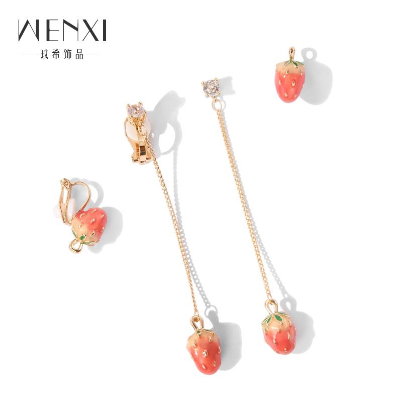 少女心草莓耳环韩国个性百搭纯银耳坠简约长款气质耳夹无耳洞耳钉
