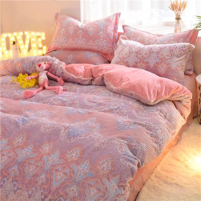 6D雕花绒冬季床上用品四件套1.5m/1.8米床加厚保暖珊瑚绒床上套件