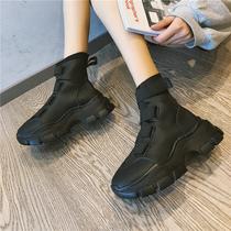 袜靴女2019秋季新款百搭英伦风时尚网红袜子显腿长马丁短靴子秋款