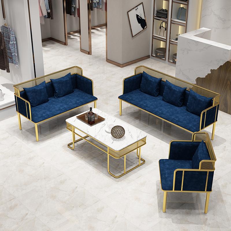 北歐鐵藝沙發簡約現代網紅服裝店小沙發雙人組合辦公客廳休閑卡座