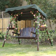 户外庭院花园露阳台碳炭化木防腐实木制双人布顶秋千摇椅吊椅特价