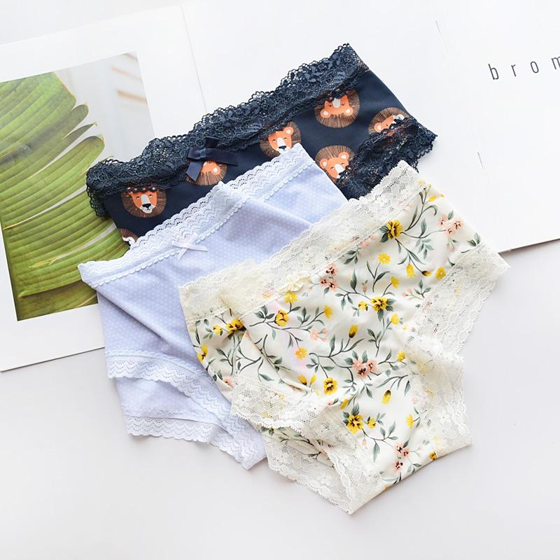 Silky European and American sexy milk silk underwear girl ice lace girls briefs ultra thin low waist cotton file