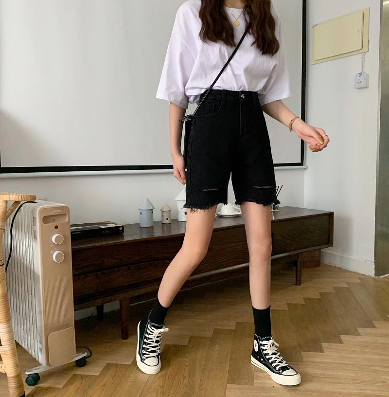 实拍实价韩版复古高腰直筒牛仔裤女学生简约百搭宽松显瘦五分裤潮