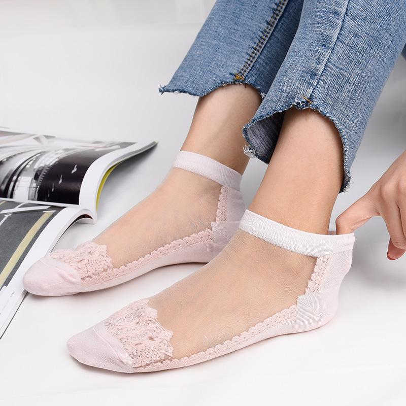 袜子女夏季夏款薄款水晶丝袜棉底薄棉短款短袜船袜超薄透明防勾丝