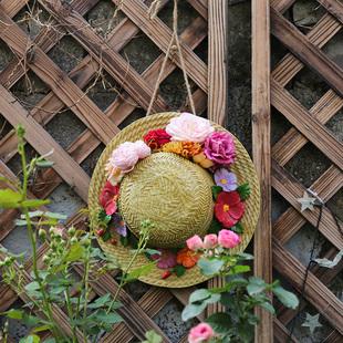 户外花园装饰 庭院 造景摆件创意园艺装饰品仿真草帽鸟窝装饰挂件品牌
