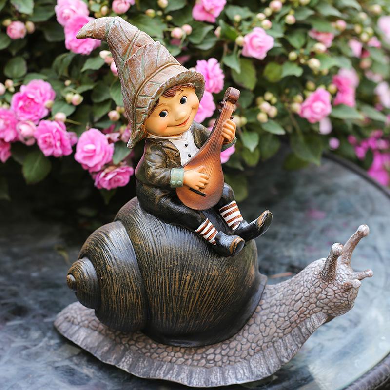 花园装饰 庭院摆件户外园艺装饰创意美式小精灵 卡通树脂蜗牛摆件