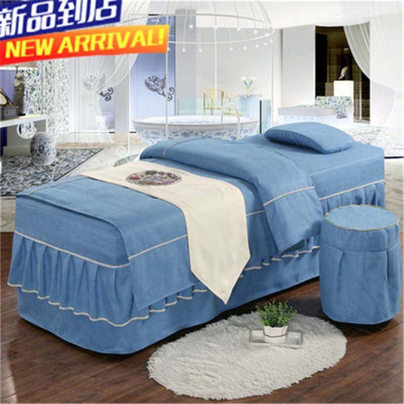 四件套床套棉麻纯棉院按摩三件定做美体SPA院小美容床罩全棉简约