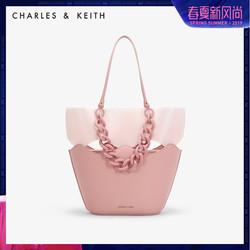 CHARLES&KEITH单肩包CK2-30270180欧美纯色链条饰女士托特包