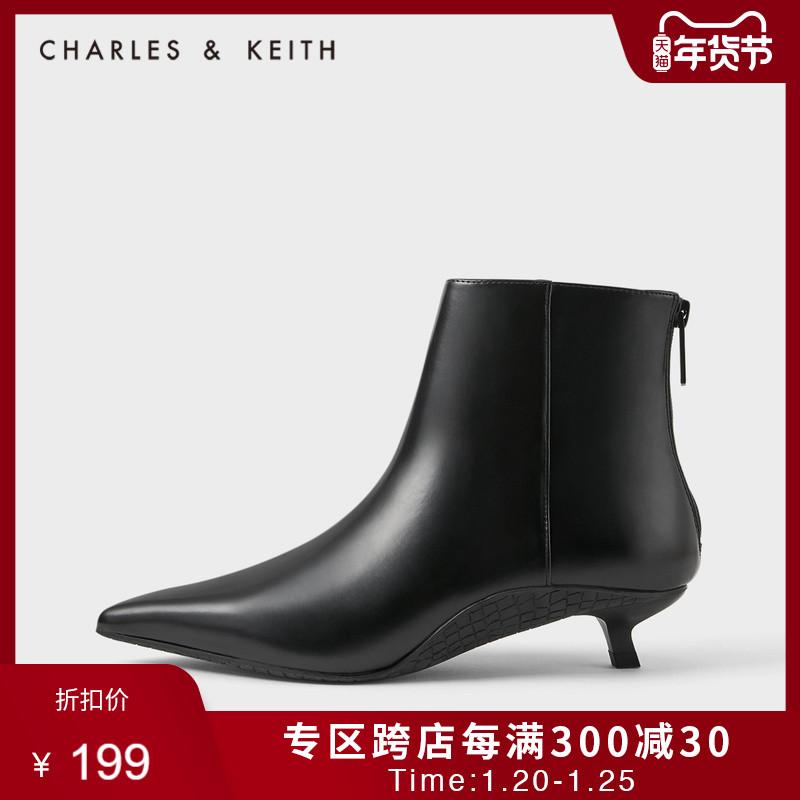 CHARLES&KEITH秋冬女靴CK1-90580119女中跟短靴