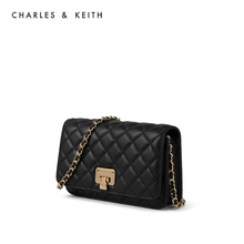 Charles & Keith spring and summer new product ck2-70160078 Lingge metal chain women's shoulder bag