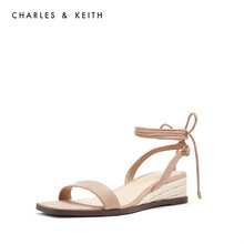 CHARLES & KEITH sandals CK1-80390309 hemp rope sole decoration ladies strap-on sandals with sloping heels