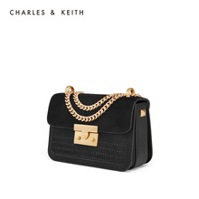CHARLES & KEITH Single Shoulder Bag CK2-80700798 Braided Inclined Black Small Square Bag Chain Bag