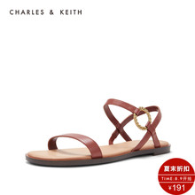 CHARLES & KEITH Sandals CK1-70280011 Metal Ring Button Lady's Open Toe Sandals