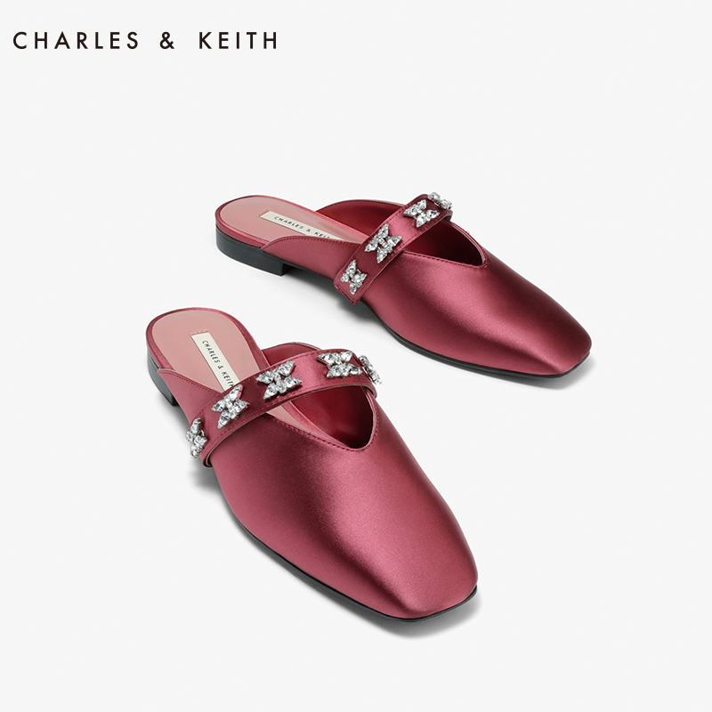 CHARLESKEITH spring single shoe woman CK170380651 water drill decorated with square head Muller cool towing