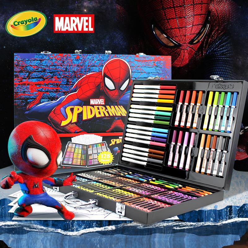 绘儿乐Crayola 蜘蛛侠冰雪礼盒儿童绘画水彩笔套装幼儿园小学生蜡笔彩铅彩笔美术画画工具文具生日六一节礼物