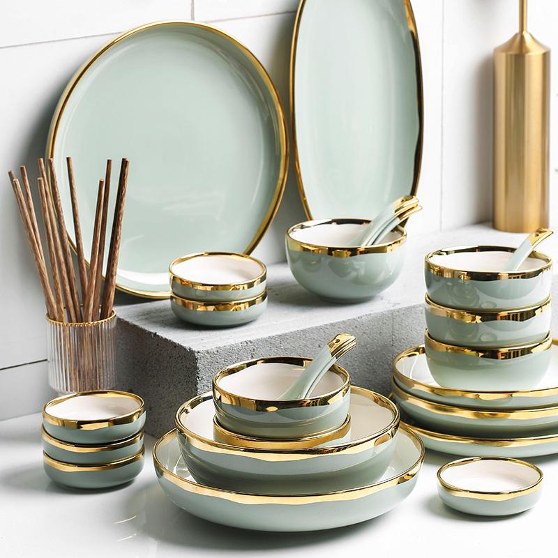 轻奢餐具套装金边欧式家用碗盘碗碟组合套装酒店会所金边陶瓷餐具